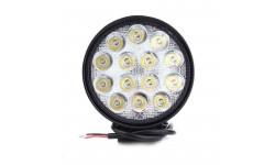 Фара LED круглая 42W, 14 ламп, 116*137,5мм, узкий луч <ДК>