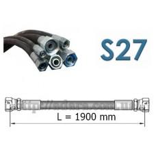 Рукав высокого давления РВД двухоплеточный 2SN, S27 под ключ 27 длина 1,9 метра