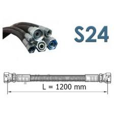 Рукав высокого давления двухоплеточный 2SN, S24 (ключ 24) длина 1,2 метра