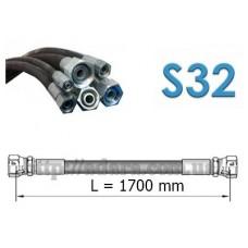 Рукав высокого давления РВД однооплеточный, S32 под ключ 32 длина 1,7 метра