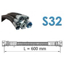 Рукав высокого давления РВД двухоплеточный 2SN, S32 под ключ 32 длина 0,6 метра